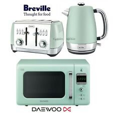 Daewoo Retro Microwave & Breville Strata Kettle and Toaster Set Mint Green New