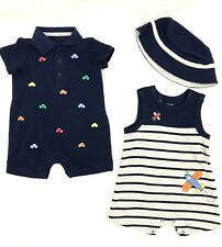 NEW Little Me Baby Boy's 3 Piece Romper & Hat Set Summer Nautical/ Vehicles