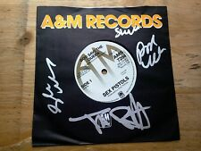 "SIGNED Sex Pistols God Save The Queen EX 7"" Vinyl Record AMS 7284 Reissue"