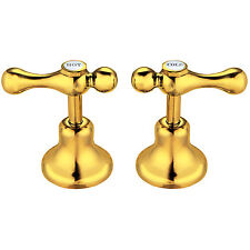 24K Yellow GOLD Shaw & Mason 1/4 Turn Lever Basin Top Assembly Bathroom Taps
