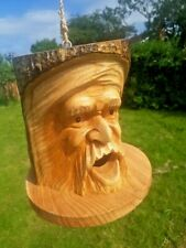 STUNNING GREEN MAN - HAND CARVED BIRDHOUSE