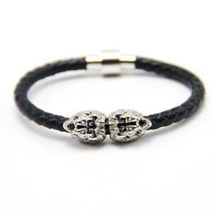 Silver Twin Lion Head Bead & Black Woven Nappa Leather Bracelet