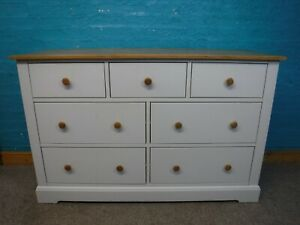 FRANK HUDSON WIDE LARGE CHUNKY SOLID WOOD 7DRAWER CHEST H92 W143cm- see our shop