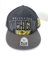 Vintage MICHIGAN WOLVERINES SNAPBACK CAP HAT '47 BRAND SPELLOUT COLLEGE VAULT