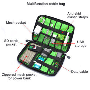 Large Grey Cable Organiser Bag USB Charger Accessories Case Gadget Pouch UK