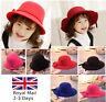 New Kids Children Girls Wool Felt Fedora Floppy Cloche Wide Brim Hat Cap