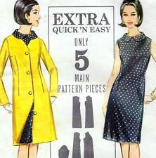 "EASY Vintage 60s Mod SHIFT DRESS & COAT Sewing Pattern Bust 36"" Sz 12 RETRO"