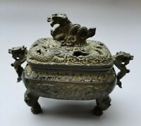 Collectible Chinese fengshui Old Bronze dragon Statue Incense Burner Censer Mark