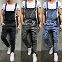 Men's Distressed Denim Carpenter Overall Bib Jumpsuit Strap Moto Biker Jean Pant