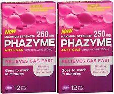 Phazyme Anti-Gas/Simethicone 250mg Ultra Strength 12 Soft Gels ( 2 pack )