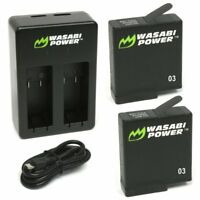 Wasabi Power Battery (2-Pack) & Dual Charger for GoPro HERO5, HERO6 Black