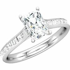 1.79 ct Diamond Engagement Wedding Ring, Radiant Cut G Color SI1 w/ 24 princess
