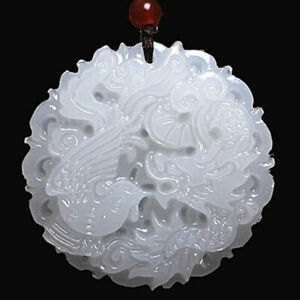 Chinese Natural White Jade Carved Dragon Phoenix Pendant Amulet Collectible Gift