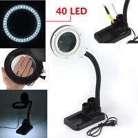 5x &10x Magnifier 40LED Magnifying Desktop Lighting Table Desk Flexible Lamp