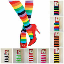 Womens Thigh High Striped Over the Knee Rainbow Socks Stockings Costume Party