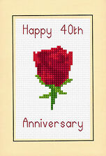 "40th Wedding Anniversary - Ruby Red Rose - Cross Stitch A6 Card Kit 4""x 6"" 14ct"