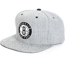 """NBA Mitchell & Ness """"Crackle"""" Brooklyn NY NETS Snapback Hat (Grey) Cap New"""