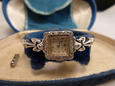 vintage 14K White Gold LONGINES Wristwatch w/  Diamonds Band