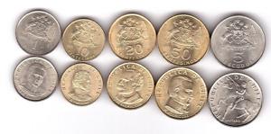 #2 - Chile - set 5 coins 10 20 50 Centesimos 1 5 Escudos 1971 - 1972 UNC
