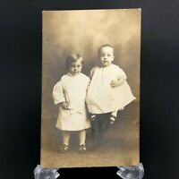 VTG Antique RPPC Postcard c.1910 Toddler Brother sister Portrait Beeville TX