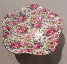 Royal Winton Summertime Chintz Comport Tazza Plate Art Deco Roses Flower Compote