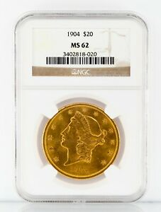 1904 Gold Liberty Double Eagle Graded by NGC as MS-62
