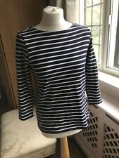 GENUINE JOULES NAVY BLUE WHITE STRIPED HARBOUR NAUTICAL 3/4 SLEEVE TOP 10 S