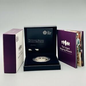 Royal Mint 2015 Silver Proof The Longest Reigning Monarch £5 Coin Boxed & COA
