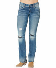 """Silver Jeans """"Suki"""" Mid Boot Indigo Relaxed Distressed Ripped Fluid 28/33 NWT"""