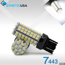 4x 7443/7441 Reverse Brake Turn Signal Parking LED White Bulbs 96-SMD 3528 Chip
