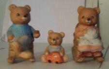 Homco bear figurines set #1470 momma poppa and baby