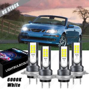For Saab 9-3 2004 2005 2006 - 4PC 6000K LED Headlight Low&High& Beam Combo Bulbs
