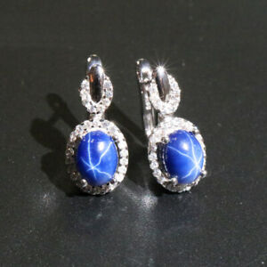 Created Star Sapphire 925 Sterling Silver Stud Earrings for women's mother's day