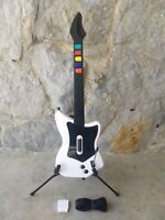 PS2 Guitar Hero Red Octane White Wireless SG Controller with Strap Dongle