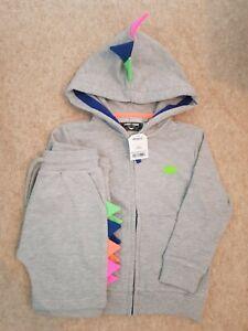 BNWT Boys Next Grey Marl Spike Fluro Neon Hoodie And Shorts Set 3-4 Years Summer