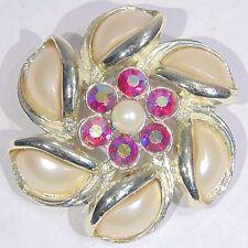 Vintage red aurora borealis AB rhinestone faux pearl pinwheel flower pin/brooch