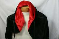 Black Velvet Cloak Reversible Red Hooded Cape Adult Halloween Fancy Dress
