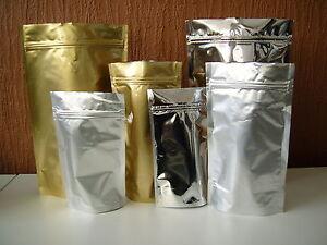 Heat Seal Aluminium Foil Stand Up Bags / Pouches Zip Lock Bag Food Grade