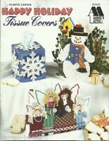 Happy Holidays Tissue Covers Boxes Christmas Winter Plastic Canvas Patterns NEW