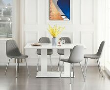 IMPERIA White High Gloss Dining Table Set And 6 Leather Dining Chairs Seater