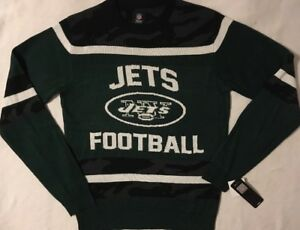 NFL New York Jets Football Men's Sweater Glow in the Dark Ugly Christmas S or XL
