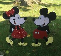 Handmade Vintage Mickey Mouse & Minnie Mouse Wood yard sign figures Painted used