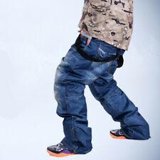 Mens Ski Snow Pants Denim Thick Warm Waterproof Outdoor Snowboard Jeans Oversize