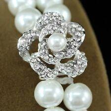 Bridal Wedding White Faux Pearl Rose Bracelet B060