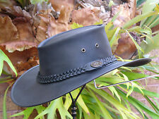 BLACK LEATHER AUSTRALIAN GREAT OUTDOORS BUSH HAT / GARDENER HAT FULLY FOLD UP