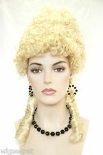 Marie Antoinette Medium Blonde Brunette Curly Fun Color Costume Wigs in 4 Colors