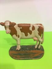 Vintage Heavy Cast Iron Dairy Cow Book End Door Stop 8.25x6.25