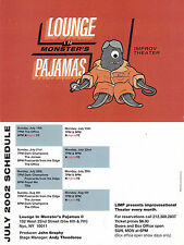 LOUNGE IN MONSTERS PAJAMAS IMPROV THEATER ADVERTISING COLOUR POSTCARD
