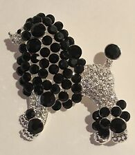Black and Clear Crystal Silver Plated Fancy Standard Size Poodle Dog Pin Brooch