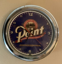 Vintage Stevens POINT Beer Lighted Clock Light sign Neon Round Wisconsin